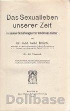 Iwan Bloch: Das Sexualleben unserer Zeit in seinen Beziehungen zur modernen Kultur (1908)